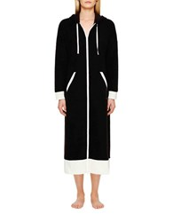 Dkny Long Sleeve Hooded Robe Black