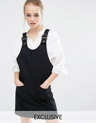 Reclaimed Vintage Denim Pinafore Dress Black