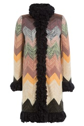 Missoni Wool Coat With Statement Collar And Trim Multicolor