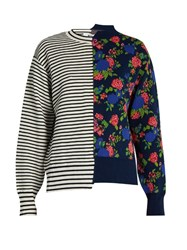 Msgm Asymmetric Floral Jacquard Sweater White Multi