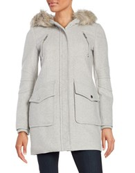 Bcbgeneration Faux Fur Trimmed Duffle Coat Grey