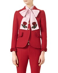 Gucci Single Breasted Wool Silk Jacket Hibiscus Red