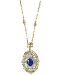 Effy Royale Bleu Sapphire 1 3 8 Ct. T.W. And Diamond 2 3 Ct. T.W. Pendant Necklace In 14K Gold And White Gold Two Tone