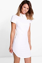 Boohoo Ribbed Curved Hem Bodycon Dress White
