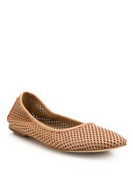 Tory Burch Whittaker Perforated Leather Ballet Flats Nude