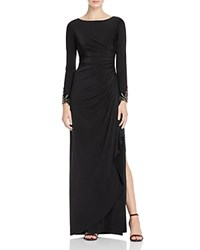Adrianna Papell Petites Long Sleeve Draped Gown Black