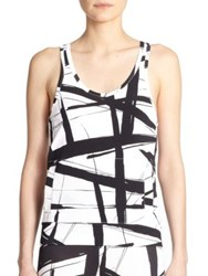 Norma Kamali Abstract Print Racerback Performance Tank Abstract Lines