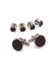 Ike Behar Semi Precious Sterling Silver Cuff Link And Shirt Stud Set Black Onyx