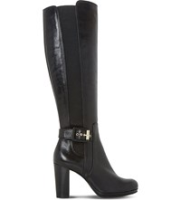 Dune Scout Leather Thigh High Boots Black Leather