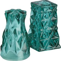 Cb2 Eureka Green Glass Salt And Pepper Shaker Set