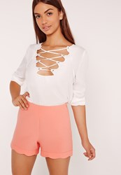 Missguided Scallop Hem High Waisted Shorts Orange Pink