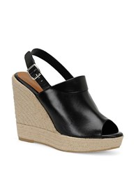 Carmen Marc Valvo Iris Leather Wedge Platform Sandal Black