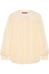 Tamara Mellon Georgette Paneled Silk Blouse