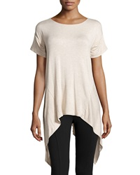 Max Studio Sharkbite Hem Scoop Neck Tee Heather Bone