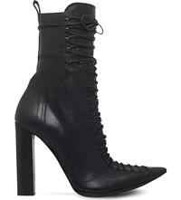 Haider Ackermann Laced Leather Heeled Ankle Boots Black