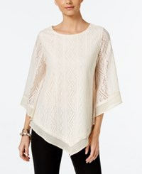 Alfani Lace Poncho Knit Top Only At Macy's Vanilla