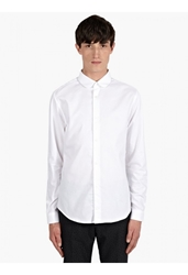 Carven Men's White Rounded Collar Cotton Oxford Shirt