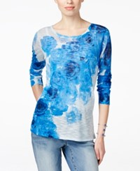 Inc International Concepts Floral Print Long Sleeve Sweater Only At Macy's Egyptian Blue