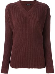 Roberto Collina V Neck Sweater Pink And Purple