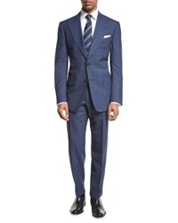 Tom Ford Windsor Base Double Windowpane Two Piece Suit Bright Blue