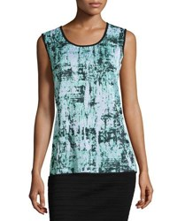 Ming Wang Reversible Printed Scoop Neck Tank Multi