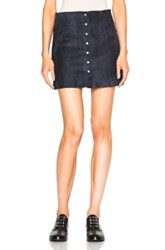 T By Alexander Wang Suede Mini Skirt In Blue