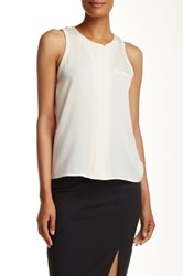 Halston Sleeveless Hi Lo Silk Blend Blouse White