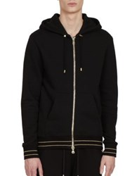 Balmain Zip Front Cotton Hooded Sweatshirt Black