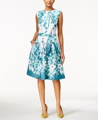 Nine West Boat Neck Floral Print Fit And Flare Dress Blue White