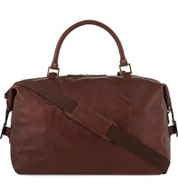 Barbour Travel Explorer Medium Leather Holdall Dk. Brown