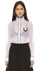 N 21 Lace High Collar Blouse White