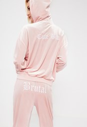 Missguided Galore Pink Velour Printed Hooded Jacket