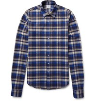 Vetements Exaggerated Sleeve Checked Cotton Flannel Shirt Blue