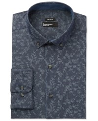 Bar Iii Men's Wear Me Out Slim Fit Indigo Vine Print Dress Shirt Only At Macy's