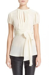 Women's Red Valentino Short Sleeve Pleated Tie Waist Blouse