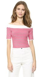 Jonathan Simkhai Gingham Off Shoulder Top Red White