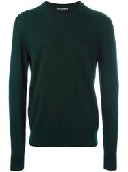 Dolce And Gabbana Embroidered Crown Jumper Green