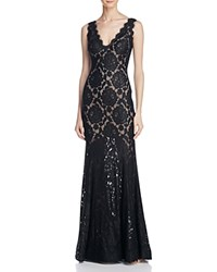 Avery G V Back Lace Gown Black Nude