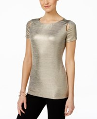 Inc International Concepts Metallic Cutout T Shirt Only At Macy's Gold