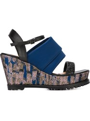 Markus Lupfer Rubber Sole Wedge Sandals Blue