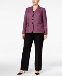 Le Suit Plus Size Three Button Tweed Pantsuit Fuchsia Multi