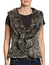 Saks Fifth Avenue Ruffle Rabbit Fur Vest Grey