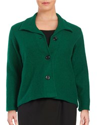 Nipon Boutique Plus Button Front Wool Jacket Evergreen