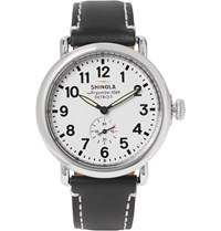 Shinola The Runwell 41Mm Stainless Steel And Leather Watch White