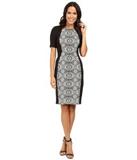 Adrianna Papell Lined Geo Bonded Lace Sheath Dress Black Ivory Women's Dress