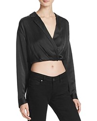 Kendall And Kylie Crossover Crop Silk Blouse Black