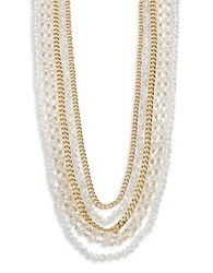 Abs By Allen Schwartz Multi Row Crystal And Chain Necklace Gold
