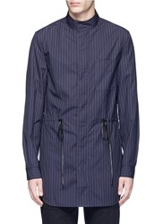 3.1 Phillip Lim Pinstripe Drawstring Cotton Shirt Jacket Blue