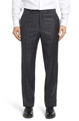 Santorelli Men's Flat Front Plaid Wool Trousers Charcoal
