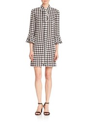 Michael Kors Polka Dot Silk Bell Sleeve Dress Black White